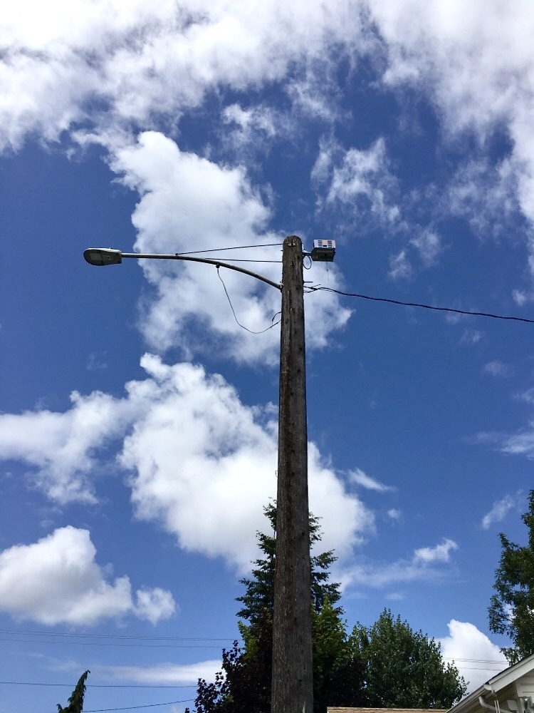 Pole device in area with overhead service