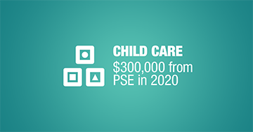 Child Care $300,000 from PSE in 2020