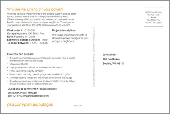Planned Outage Mailer - page 2