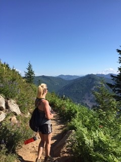 Mary hiking in the mountains